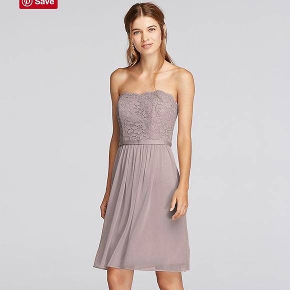 bb462d543635 David's Bridal Dresses   Short Scalloped Strapless Lace Mesh Dress ...